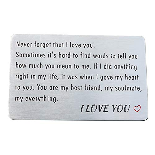 Engraved Wallet Card Insert, Stainless Steel Wallet Cards, Anniversary Gifts from Wife for Husband Men Boyfriend