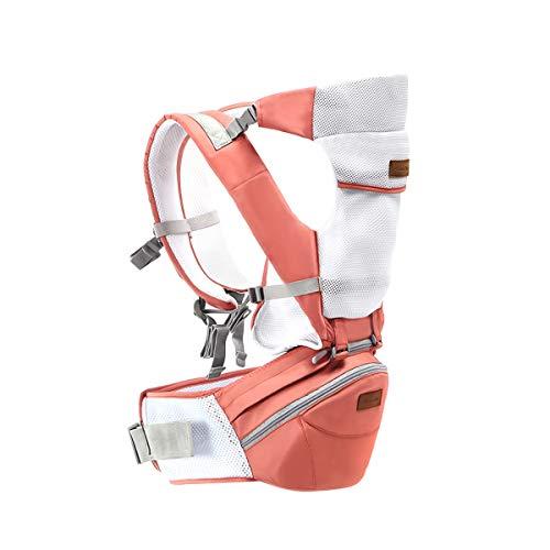 SONARIN 3 in 1 Multifunzione Hipseat Baby Carrier, Portantina per bebè, Ergonomico,Marsupio,Supporto in mesh Traspirante,Facile da Trasportare(Rosa)