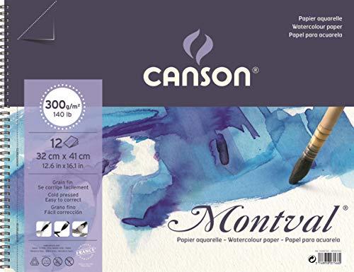 Álbum Espiral Microperforado, 32x41 cm, 12 Hojas, Canson Montval, Grano Fino 300g