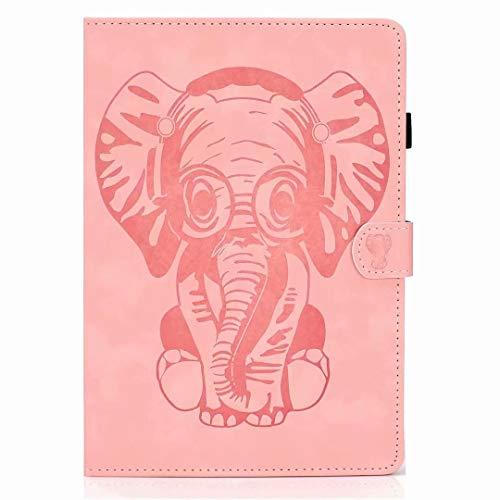 Funda universal para tablet de 10 pulgadas, de piel sintética, con función atril, diseño de elefante en relieve con ranuras para tarjetas, cierre magnético, compatible con todas las tabletas de 10 pulgadas, color oro rosa, tamaño Tablet 10 inch