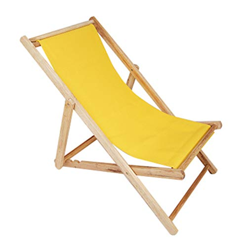 YQ WHJB Outdoor Garden Sun Lounger,Wood Beach Chair Adjustable Portable Folding Chair for Patio Garden Pool,Waterproof Canvas