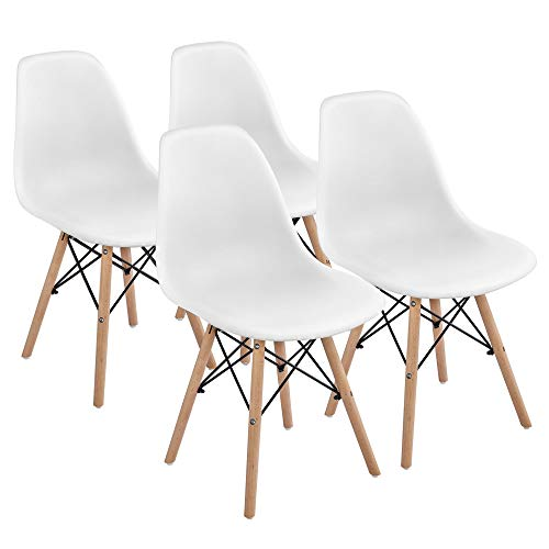 Yaheetech Dining Chairs with Beech Wood Legs and Metal Wires Modern Side Chairs Pre Assembled Shell Eiffel DSW Chairs for Dining Room Living Room Bedroom Kitchen Lounge Reception, Set of 4, White