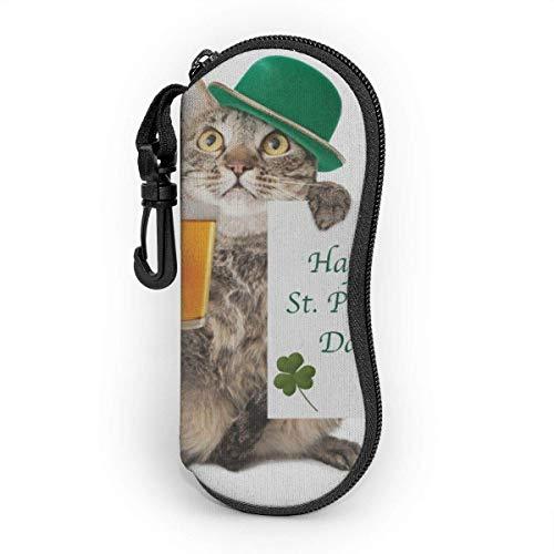 AOOEDM Sonnenbrillenetui mit Karabinerhaken, tragbare Brille Softcase Happy St. Patricks Day lustige Katze