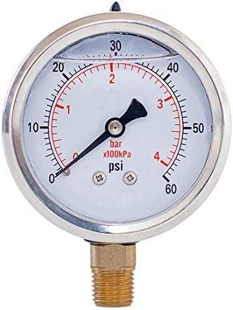 Pressure Gauge Liquid Filled 2 face Dia 0 60 psi bar kpa 1 4 NPT Lower Mount Polycarbonate Lens product image