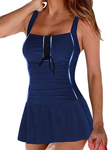 Lovezesent Women's Plus Size Blue One Piece Swimsuits Vintage Ruched Padded Push Up Swim Dresses Swimwear Strappy Tummy Control Bathing Suits XL