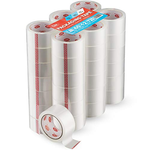 Simply Cool Clear Packing Tape Refill Rolls   Bulk 36 Pack of 60 Yards Per Roll   Heavy Duty Strong Industrial Packaging Tape Moving Sealing Boxes &...