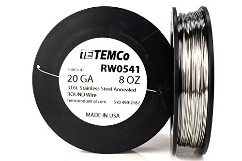 TEMCo Stainless Steel Wire SS 316L - 20 Gauge 8 oz (181 ft) Non-Resistance AWG ga