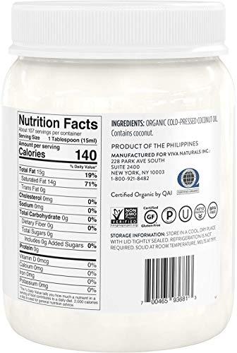 Product Image 3: Viva Naturals Organic Extra Virgin Coconut Oil (54 Oz) – Non-Gmo Cold Pressed