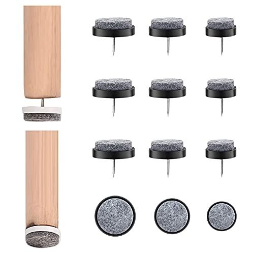 Mlysnd Filzgleiter Nagel, 72 Stück Filzgleiter Stuhl Stuhlgleiter Filz Tischfüße Schutz für Holzmöbel Stuhl Hocker Tischbein Füße, Feuchtigkeitsbeständig, 20 mm, 24 mm, 28 mm (Schwarz)