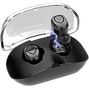 Wireless Earbuds,GEJIN True Wireless Bluetooth Earbuds 15H Playtime 3D Stereo Sound,Built-in Microphone,Sweatproof in-Ear Earphones with Portable Charging Case (Black)