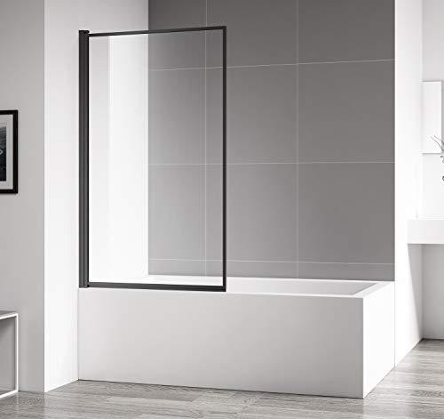 Badewanne FES 4mm mit Nanobeschichtung 80 x 140cm Matt schwarz Duschwand Duschabtrennung Badewannenaufsatz