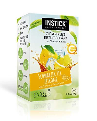 INSTICK | Zuckerfreies Instant-Getränk - Geschmack Eistee Zitrone | 12-er Packung für 12 x 0,5 L