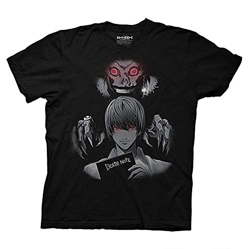 Ripple Junction Mens Death Note Anime T-Shirt - Death Note Light Yagami Mens Fashion Shirt - Death Note Manga Tee (Black, X-Large)