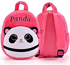 Frantic Pandora Velvet Panda Design Pink School Bag for 2 to 5 Age Kids