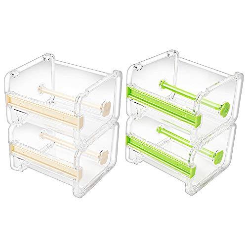 Molshine-Dispensador de cinta adhesiva multi Washi transparente visible para escritorio,cortador de cinta,soporte para rollo de cinta (no incluye cinta adhesiva) (Beige&Verde)
