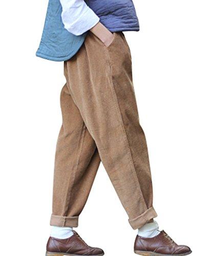 Youlee Frauen-elastische Taille Corduroy Hose mit Taschen Kaffee Einheitsgröße