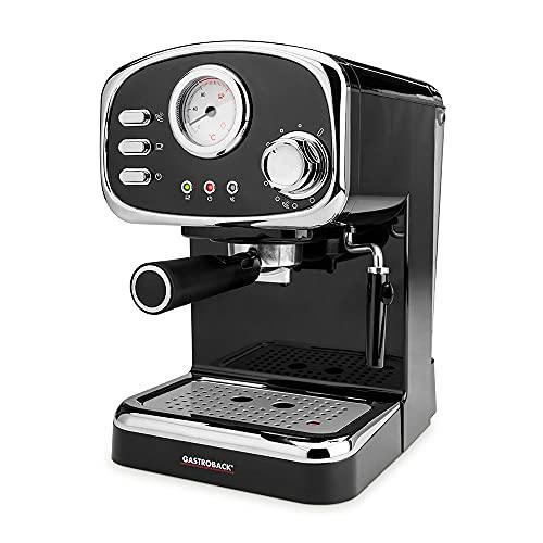 GASTROBACK 42615 Design Espressomaschine Basic, 1100 Watt, Schwenkbare Milchschaumdüse, professionelle Espressopumpe, Kunststoff, Schwarz, Silber