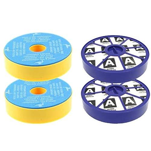 Lavable Pre y Post Motor Filtros Motor alérgicos filtros HEPA Kit para aspiradoras Dyson DC19 DC20 DC29 (2 de cada uno)
