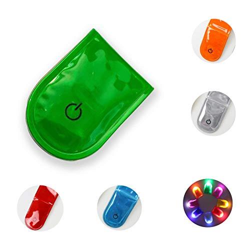 Veaoiy LED Sicherheitslicht Clip Reflektoren Kinder Magnetic Flashing Light Lauflicht Joggen Blinklicht Reflektor Anhänger Fahrrad Reflektoren (PVC-Grün)