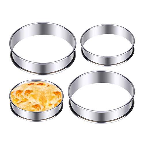 DEXIDUO 4 pezzi di anelli per torta piatti, anelli per muffin inglesi perfetti, anelli antiaderenti, doppi arrotolati per le uova in camicia