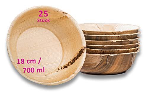 Waipur Bio Palmblattschalen - 25 große Schalen Ø 18 cm / 700 ml - Premium Einweggeschirr kompostierbar - Einweg Suppenschalen - Palmblatt Schüssel