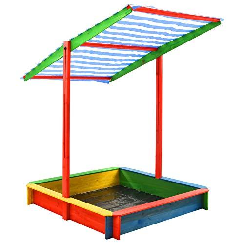 Tidyard Sandkasten mit Verstellbarem Dach & Montagematerialien Sandbox Sandkasten Spielhaus mit Sandkasten für Kinder Tannenholz Bunt UV50 118 x 118 x 140 cm Mehrfarbig