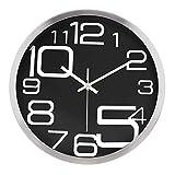 Lafocuse Reloj de Pared Silencioso Metal Industrial Reloj Cuarzo con Grandes Números Negro para...