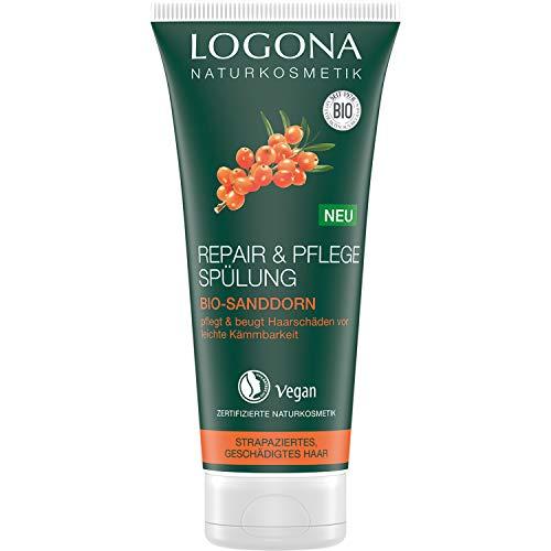 LOGONA Naturkosmetik Repair & Pflege Spülung Bio-Sanddorn, Intesive Pflege für trockenes, Geschädigtes Haar, Reapriert, 200 ml