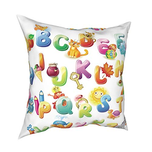 iksrgfvb Pillow Case Cushion Covers Alphabet Kids Square Pillowcases for Living Room Sofa 18 x 18 inch