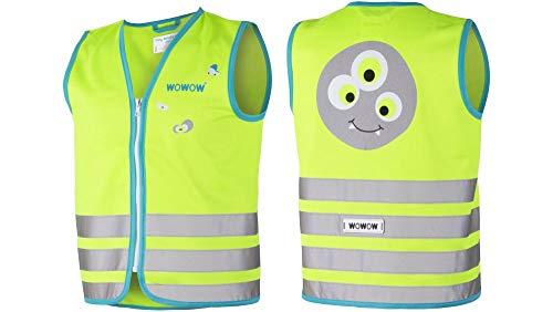RennMaxe : WOWOW Reflex Kinderweste Crazy Monster grün XS / 36 3-4 Jahre - inkl Sicherheitsband - Leuchtweste Warnweste Sicherheitsweste Kinder Jugendliche