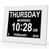 SVINZ Calendar Memory Loss Day Clock with Digital Photo Frame, Extra Large Non-Abbreviated Day & Month, White,...