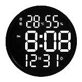 Orologio da Parete Digital Electronic. GUIDATO Orologio da Parete Luminoso Orologio Grande Orologio Digitale Temperatura e umidità Orologio elettronico Design Moderno 12 Pollici Orologio