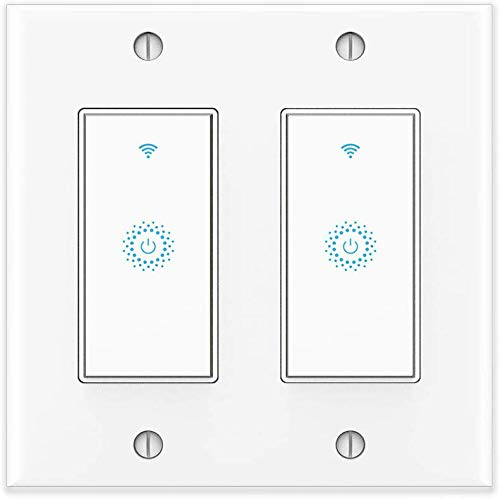 Wifi Smart Light Switch, Work with Amazon Alexa, Google Home, IFTTT, Wireless control, 2.4G Wifi, Single-Pole, Neutral Wire Required, No hub, 2 Gang