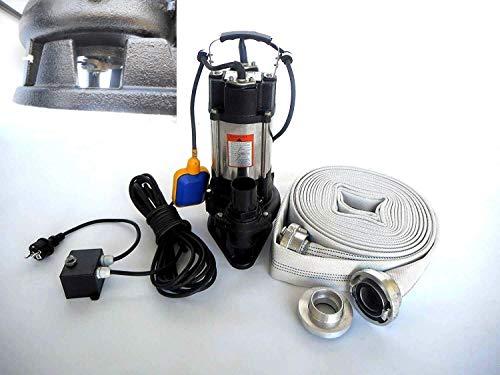 Fäkalienpumpe Tauchpumpe Schmutzwasserpumpe WQ 750Watt Spannung: 230V / 50Hz, Fördermenge: 18000l/h = 300 l/min mit Cutter / Zerkleinerer inkl. Schutzkasten der die Pumpe vor Überhitzung und Trockenlauf schützt + 20m C-Schlauch + Storzkupplung.