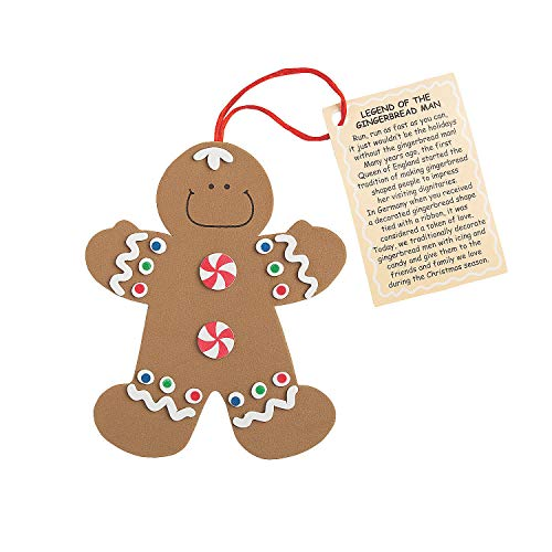Fun Express  Legend of The Gingerbread Man ORN ck for Christmas  Craft Kits  Ornament Craft Kits  Foam  Christmas  12 Pieces
