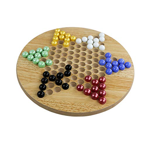 DRAROAD Wooden Chinese Checkers Board Game Set Fun for The Whole Family