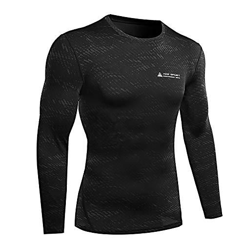 AMZSPORT Maglietta a Compressione da Uomo Maglia a Manica Lunga Camicia Sportiva Nero, L