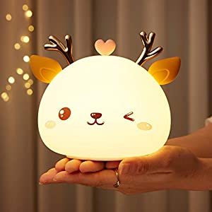 Cute Soft Night Light for Kids, Gifts for Toddler,Children or Teen Girls, Glow Silicone Baby Nursery Nightlight, Color Changing Deer Animal Lamp, Kawaii Decor Light Up Bedroom, Portable,Rechargeable