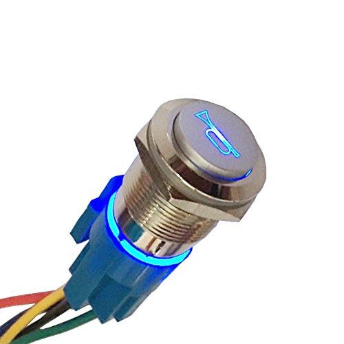 Mintice 19mm bleu LED lumière 12V bouton poussoir voiture métal interrupteur momentané orateur Corne prise de courant