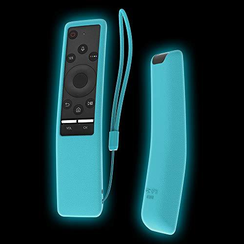 Samsung TV Fernbedienung Hülle SIKAI Tropfen schützende Silikon Hülle für Samsung BN59-01242A BN59-01241A Smart TV Fernbedienung Hülle Anti-Rutsch Anti-Verlorene MEHRWEG (Fluoreszierend Blau)