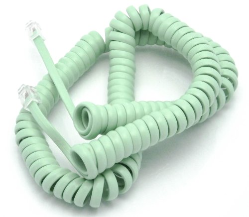 Telephone Cord Handset Curly - Phone Color Earth Day Green 25ft - Works on virtually All Trimline Phones and Princess Telephones - Landline Telephone Accessory iSoHo Phones