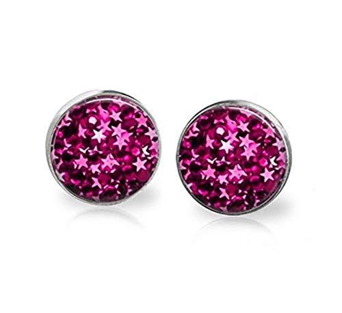 Sunshine Pendientes de estrella, un parche de estrellas rosas, adornos de cristal cúpula, regalos para ella