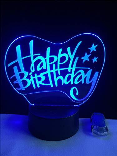 HGFHGD Feliz cumpleaños Regalo 3D luz LED USB RGB luz de Noche...