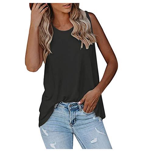 KIMODO Damen Ärmellos V-Ausschnitt Tank Tops mit Spitze Weste Sexy Sommer Strand Vest Bluse Mode Frauen Lässig Unterhemd Bluse Tank Tops (Schwarz-A, M)