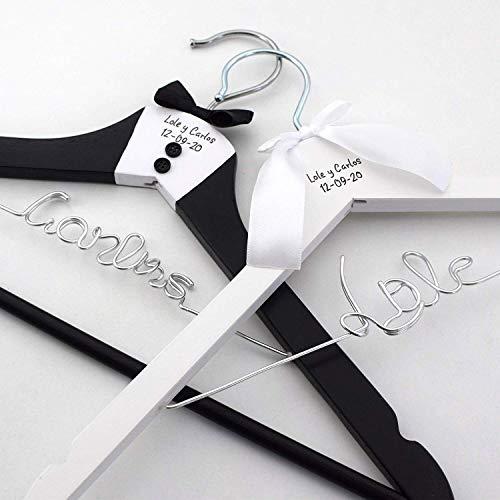 Pack de 2 perchas personalizadas para novios, perchas de madera para bodas, regalo de bodas para novios, perchas personalizadas para boda