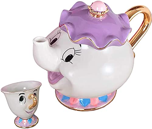 Cartoon Beauty And The Beast Tetera Mrs Potts Chip Mug Sculpture cerámica Tea Set (rojo)