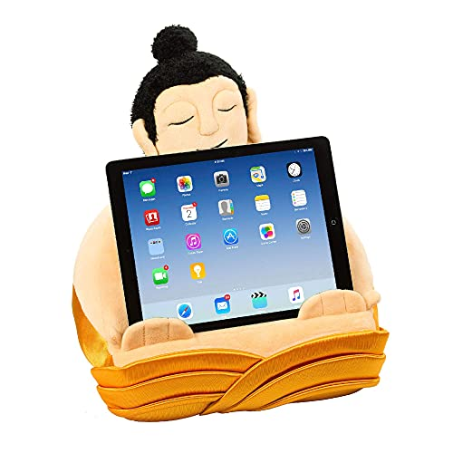 Book Buddha iPad Stand, Tablet Stand and Book Holder, Reading Pillow Cushion in Bed at Home Travel, Lap Rest Support, Gift Idea Compatible with eReader/Kindle/Smartphone