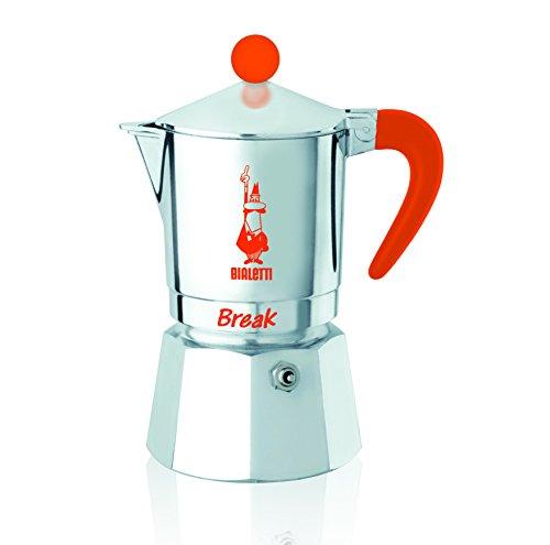 Bialetti - Break - Cafetière Expresso 3 Tasses en Aluminium, Couleur Argent et Orange, 14 x 10 x 17 cm
