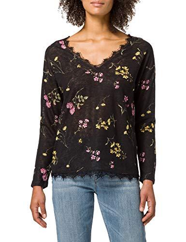 Springfield Camiseta Efecto Lino Cuello Puntilla, Negro, M para Mujer