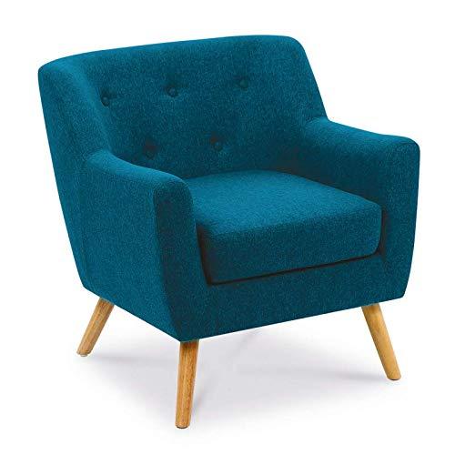 IDMarket - Fauteuil scandinave en Tissu Bleu Canard